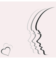 Love card with woman profile portrait vector image vector image