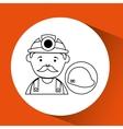 mine worker pickaxe with helmet vector image vector image