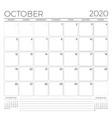 october 2020 monthly calendar planner template vector image vector image