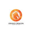 orange silhouette dragon logo vector image vector image