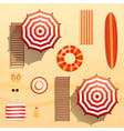 realistic beach objects vector image vector image