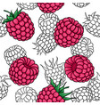 seamless pattern pink black and white raspberries vector image vector image