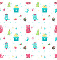 seamless pattern with cute christmas cats vector image vector image