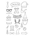 set black hand drawn christmas doodle icons vector image