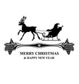 silhouette santa riding on reindeer sleigh vector image vector image