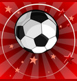 soccer ball on red background with stars vector image