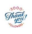 Thank you 3000 followers card thanks vector image vector image
