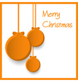 three orange paper christmas decoration baubles vector image vector image
