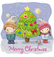 two cute cartoon boy and girl in a hats vector image vector image