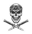 vintage bandit skull in bandana vector image vector image