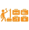 worker and set portfolio with tools for repair vector image