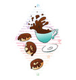 coffee and donuts concept hand drawn vector image