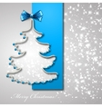 Christmas tree from blue ribbon background vector image