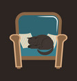 a gray house cat sleeps on an armchair between the vector image vector image