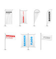 banners flags on poles variety realistic mockups vector image vector image