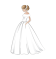Beautiful bride in wedding dress with pretty hair vector image