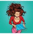 Beautiful girl lies graphics tablet headphones vector image
