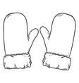 black sketch - winter mittens with fur rim vector image vector image