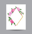 blooming spring and summer floral golden frame vector image vector image