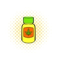 Bottle with buds of marijuana icon comics style vector image vector image