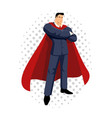 cartoon of a super businessman vector image vector image