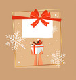 christmas gift box in snow greeting card vector image