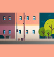 city building houses view street real estate flat vector image