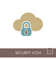 cloud computer storage with lock icon vector image vector image