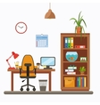 colorful office desk closeup concept vector image