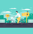 flat young man deliver mail on bicycle vector image vector image