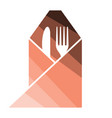 fork and knife wrapped napkin icon vector image