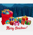 gift boxes on snow christmas greeting card vector image