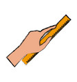 hand with ruler vector image