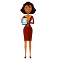 happy african american woman character with tablet vector image