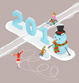 happy new year 2018 and merry christmas flat vector image