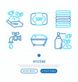 hygiene thin line icons set vector image