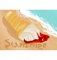 ice cream on the beach vector image vector image