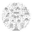 iceland icons tourism and attractions thin line vector image vector image