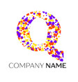 letter q logo with purple yellow red particles vector image vector image