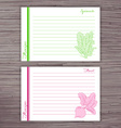 lined recipe card with vegetables on wooden vector image vector image