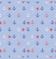 marine anchor and star fish seamless pattern vector image