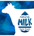 Milk emblem design on abstract polygon background vector image vector image