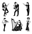 Musicians black icons set vector image vector image