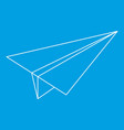 paper plane icon outline style vector image vector image