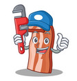 plumber bacon mascot cartoon style vector image