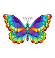 rainbow polygonal butterfly vector image vector image