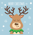 reindeer red nosed cute smile cartoon christmas vector image