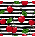 seamless pattern red cherry with leaf on black vector image vector image