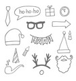 set black hand drawn christmas doodle icons vector image