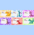 set dragon birthday template vector image vector image
